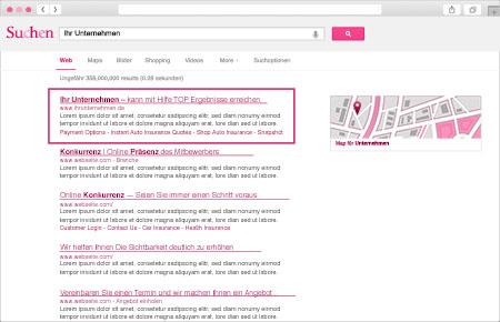 Beispielbild einer Suchmaschine mit der ersten Platzierung