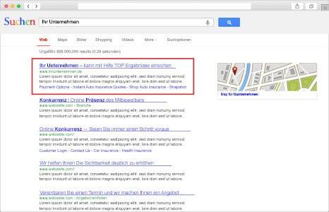 Suchmaschinen Ergebnisse