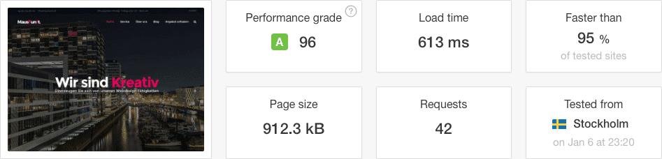 Screenshot einer Pingdomtools Auswertung der Webseite Mauskunst mit 613ms Ladezeit